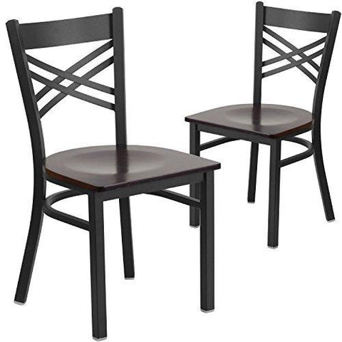Flash Furniture 2 Pk. Hercules Series Black X Back Metal Restaurant Chair - Walnut Wood Seat