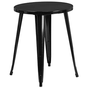 Flash Furniture 24 Round Black Metal Indoor-Outdoor Table