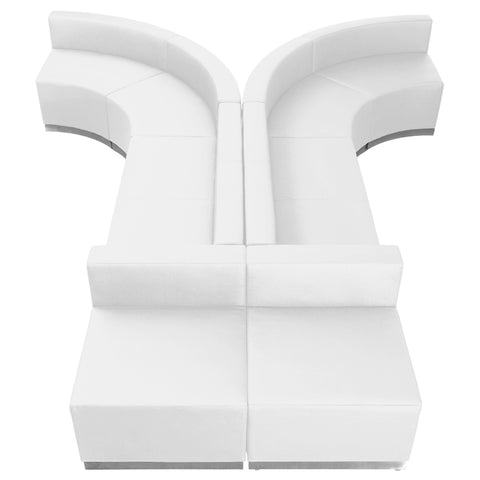 HERCULES Alon Series White Leather Reception Configuration, 8 Pieces - ZB-803-620-SET-WH-GG