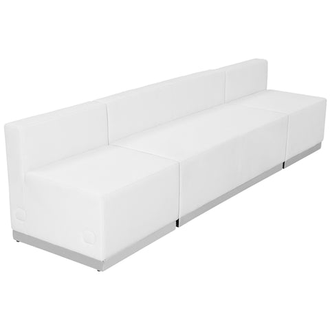 HERCULES Alon Series White Leather Reception Configuration, 3 Pieces - ZB-803-680-SET-WH-GG