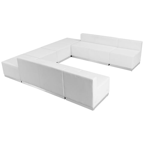 HERCULES Alon Series White Leather Reception Configuration, 8 Pieces - ZB-803-710-SET-WH-GG