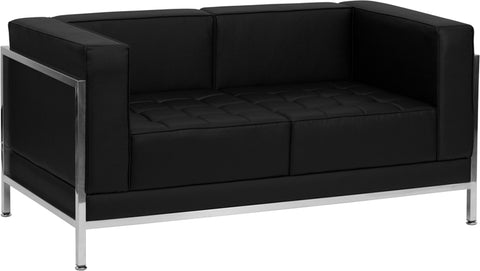 HERCULES Imagination Series Contemporary Black Leather Loveseat with Encasing Frame - ZB-IMAG-LS-GG