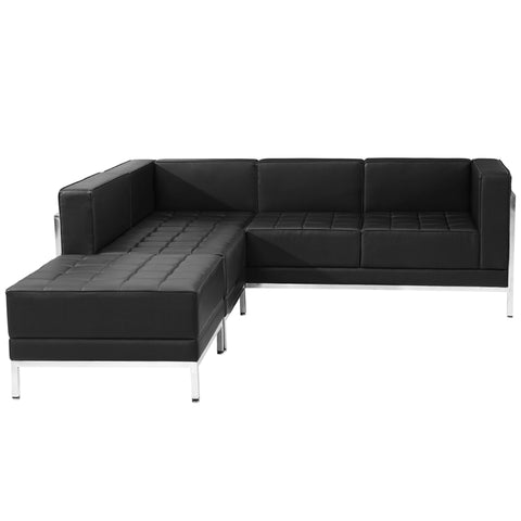 HERCULES Imagination Series Black Leather Sectional Configuration, 3 Pieces - ZB-IMAG-SECT-SET9-GG