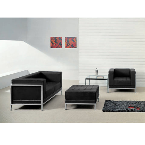 HERCULES Imagination Series Black Leather Loveseat, Chair & Ottoman Set - ZB-IMAG-SET11-GG