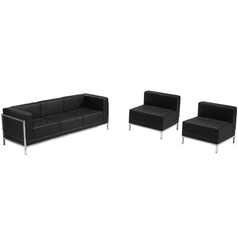 HERCULES Imagination Series Black Leather Sofa & Chair Set - ZB-IMAG-SET13-GG