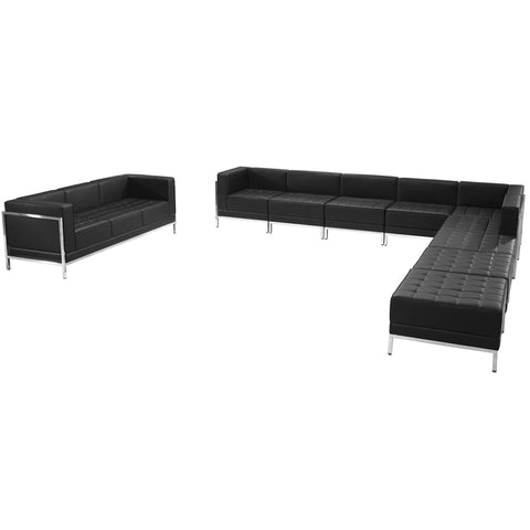 HERCULES Imagination Series Black Leather Sectional & Sofa Set, 10 Pieces - ZB-IMAG-SET19-GG