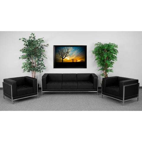 HERCULES Imagination Series Black Leather Sofa & Chair Set - ZB-IMAG-SET3-GG