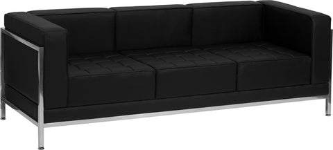 HERCULES Imagination Series Contemporary Black Leather Sofa with Encasing Frame - ZB-IMAG-SOFA-GG
