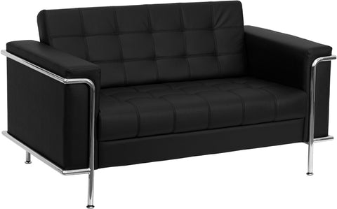 HERCULES Lesley Series Contemporary Black Leather Loveseat with Encasing Frame - ZB-LESLEY-8090-LS-BK-GG