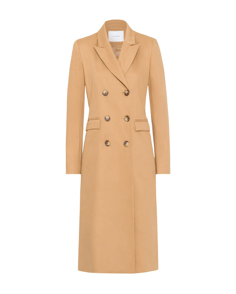 Classic Double-Breasted Coat Beige