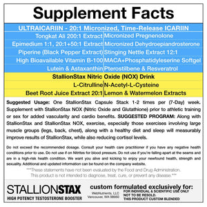 StallionStax Combo- Enhanced Testosterone, Endurance and Sexual Performance and Increased Strength for Men.