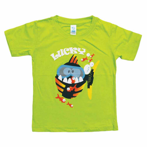 BABY CLUB Lucky Print Green Boys Tshirt