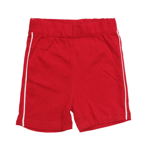 BABY CLUB White Piping Red Premium Cotton Basic Shorts