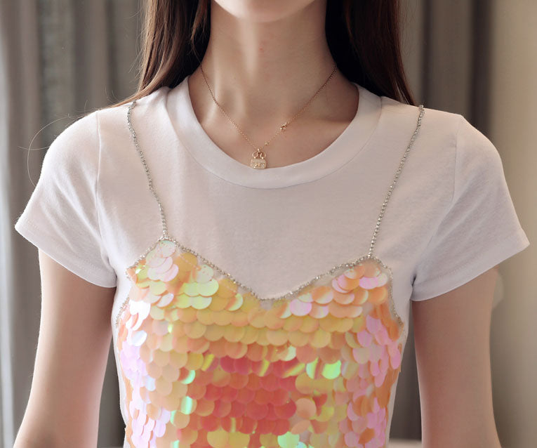 TP20117 Sequins Top with Spaghetti Design