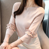 TP20147 Three Quarter Sleeve Round Neck Top
