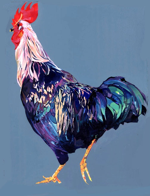 Strutting Cockerel print sold on behalf of Michelle Scragg