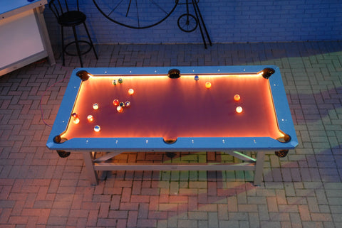 Outdoor 8 Ball Commercial Pool Table Night Time View Burgundy Surface