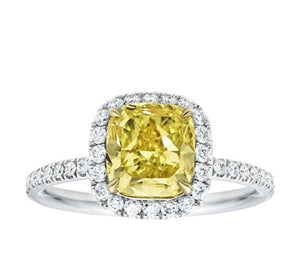 Radiant Cut Fancy Yellow Diamond Halo Ring