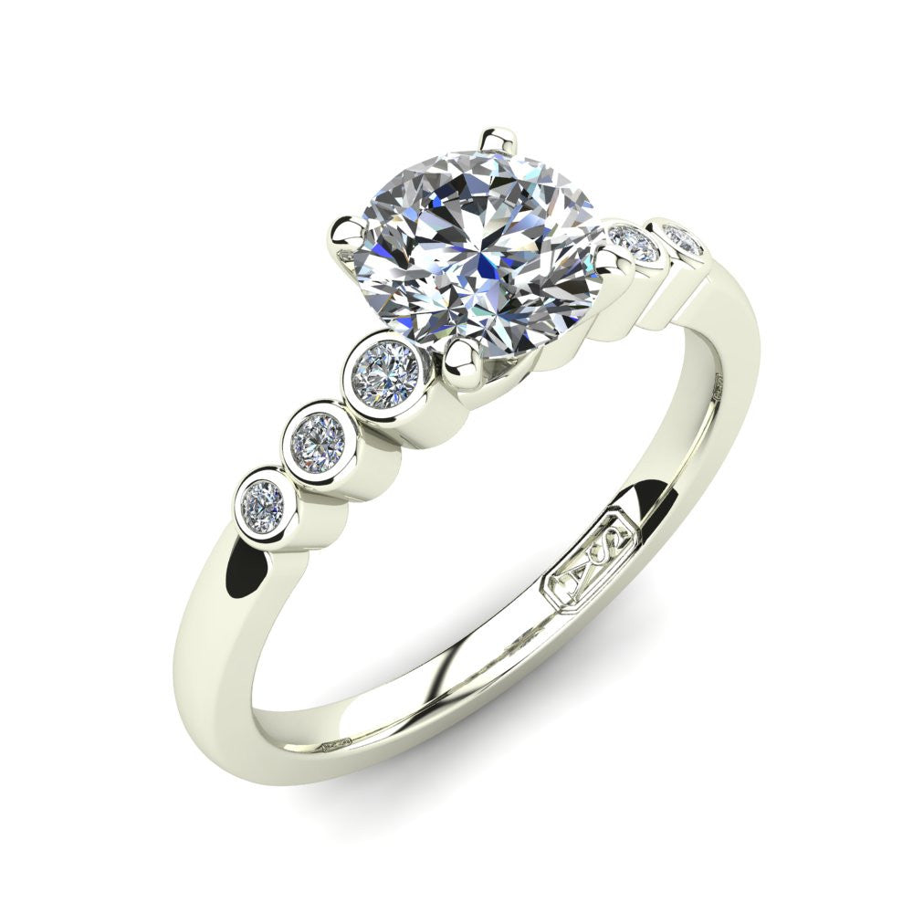 18kt White Gold, Solitaire Setting with Bezel set Accent Stones