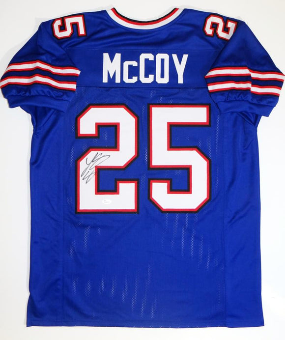 LeSean McCoy Autographed Blue Pro Style Jersey- JSA Witnessed Authenticated *2