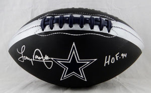 Tony Dorsett Autographed Dallas Cowboys Black Logo Football W/ HOF- Beckett Auth