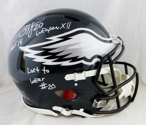 Brian Dawkins Signed Eagles F/S Speed Authentic Helmet W/ 2 Insc- JSA W Auth *White