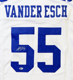 Leighton Vander Esch Autographed White Pro Style Jersey *L5- Beckett Authenticated *Silver