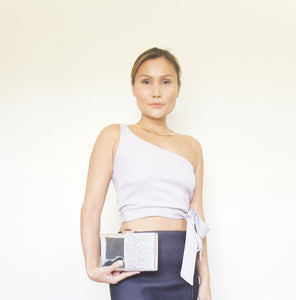 Alyssum One Shoulder Side-tie Crop Top Lavender