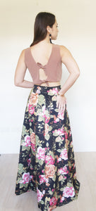 Nerine Neoprene Floral Ball Skirt Black