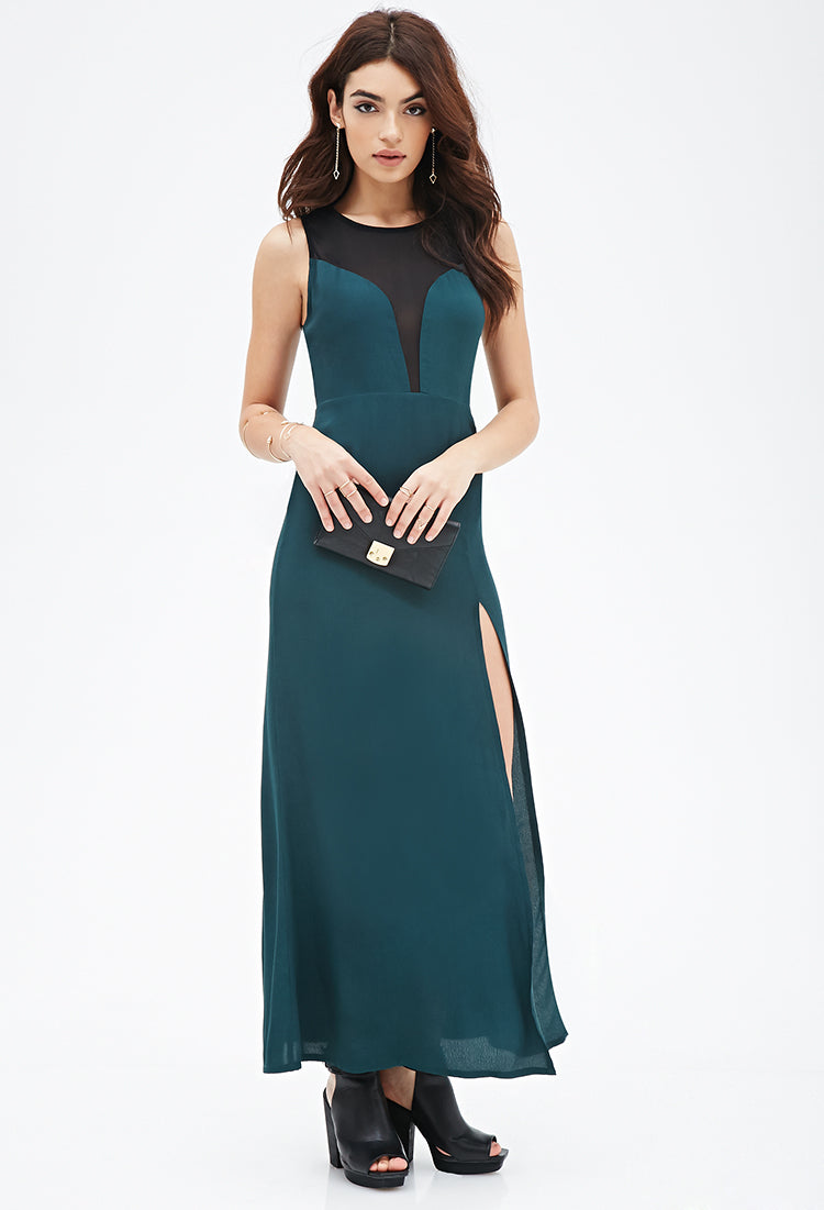 Forever 21 Illusion Neckline Maxi Dress Green Small