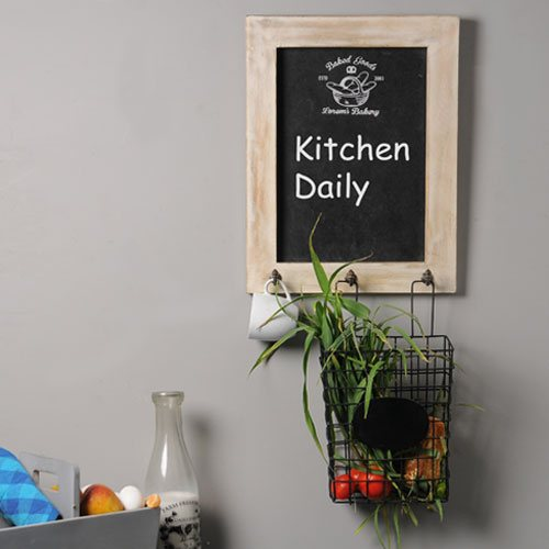 Loren's Chalkboard with Wire Basket 1