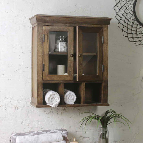 Solid Wood Double Door Bathroom Cabinet 1