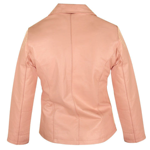 Image of USA Leather Womens Pink Short Zipper Leather Jacket