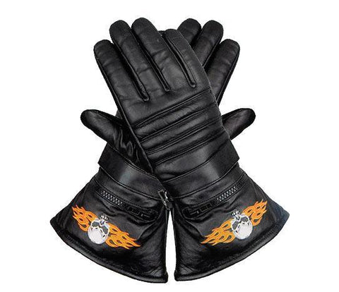 Image of Xelement XG1231 Men's Black Embroidered Flame Skull Lined Leather Motorcycle Gloves