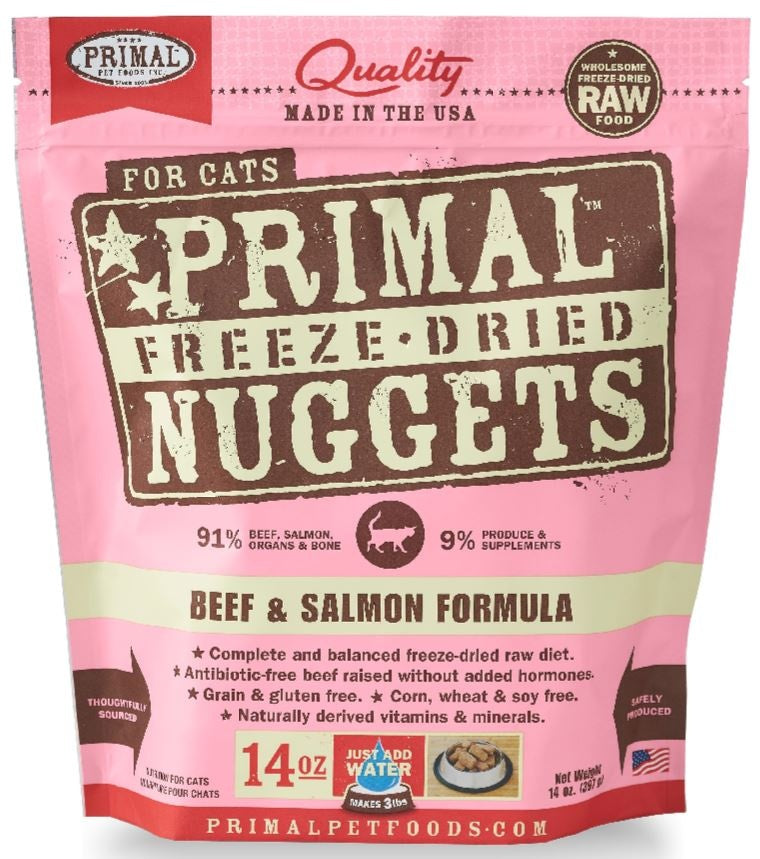 Primal Freeze Dried Nuggets Grain Free Beef and Salmon Formula Cat Food
