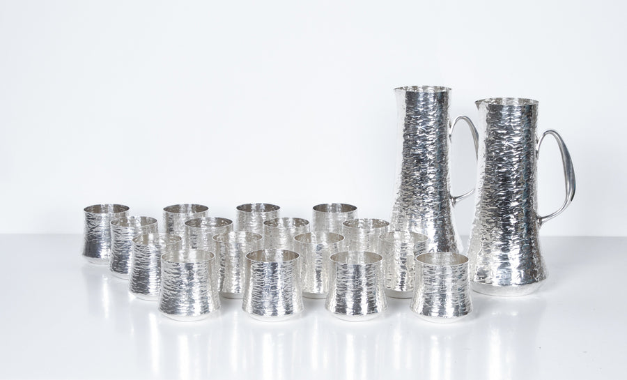 Tapio Wirkkala, Set of Silver Pitchers and Cups, 18 Pieces, Finland 1970s