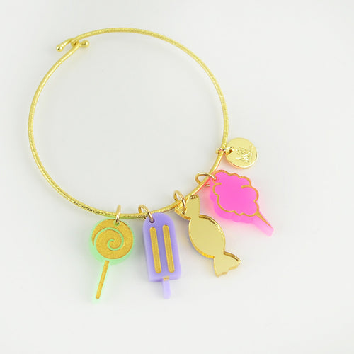 Nora Charm Bracelet with Lollipop, Popsicle, Wrapped Candy and Cotton Candy Charms
