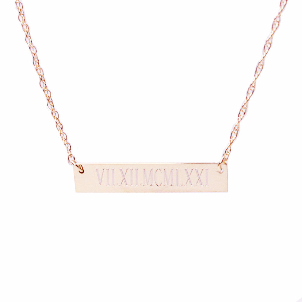 I found this at #moonandlola - Engraved Bar Necklace close up
