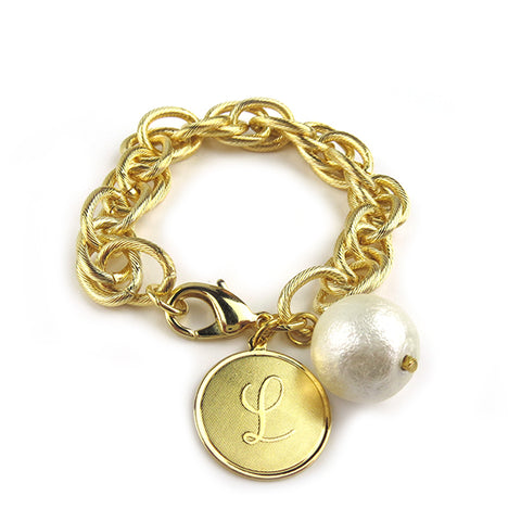ML xx EM Hatherly Engraved Charm Bracelet - Interlocking