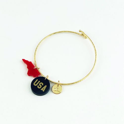 Moon and Lola - USA Charm on Nora Bangle with Mini State Charm