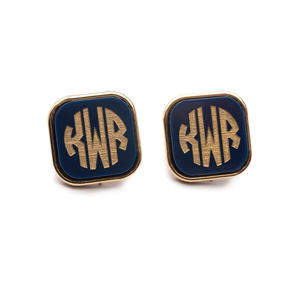 I found this at #moonandlola! - Vineyard Square Monogram Post Earrings