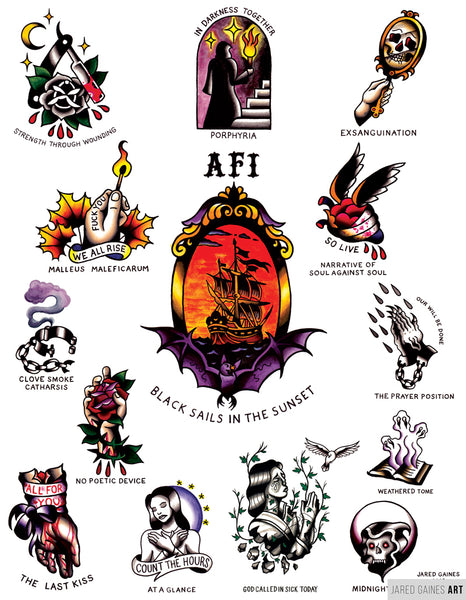 afi tattoo flash black sails in the sunset