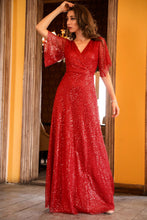 Load image into Gallery viewer, Sequined Red Evening Dress