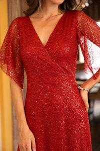 Sequined Red Evening Dress