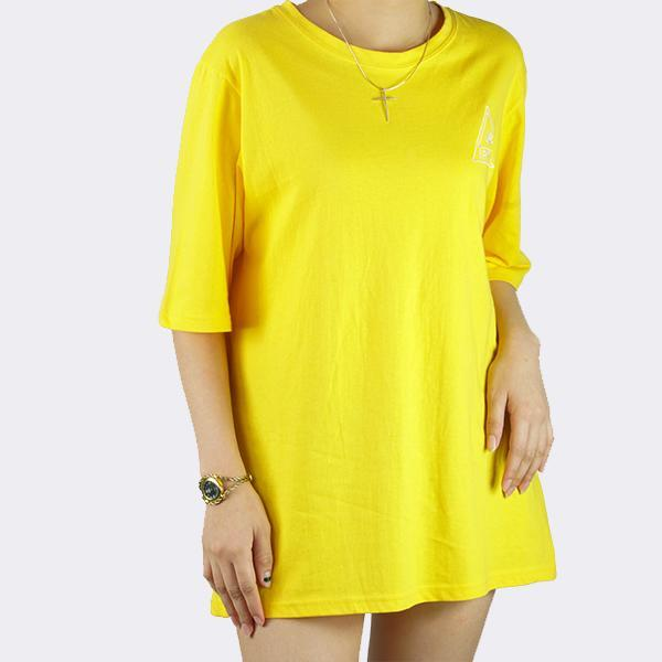 Heraposh  Tops Free Size / Yellow Gold Sun Round Neck Boyfriend Shirt HP-T000056