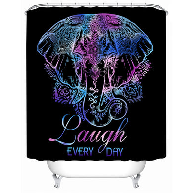 Lotus Elephant - With Words - Shower Curtain - Waterproof