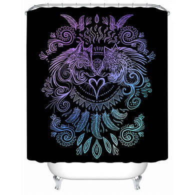 Wolves Heart by SunimaArt - Black - Wolves and Feathers Shower Curtain - Waterproof