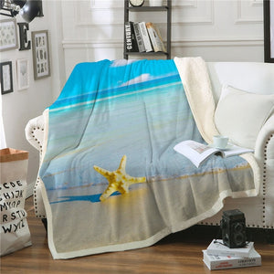 Beach Starfish Sherpa Throw Blanket - My Diva Baby