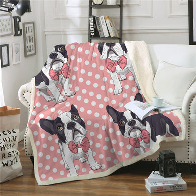 Pink Bow Tie French Bulldog Sherpa Throw Blanket - My Diva Baby