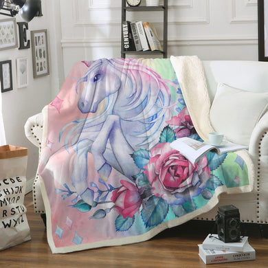 Unicorn & Rose Sherpa Throw Blanket - My Diva Baby